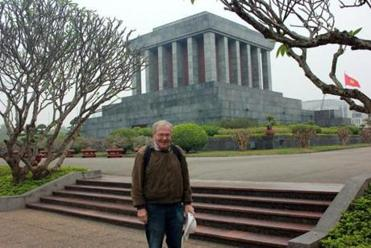 The author in Hanoi, outside the mausoleum that holds Ho Chi Minh's body.